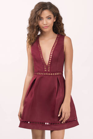 Red Dress Ladder Trim Dress Pleated Dress Skater