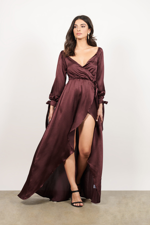 Wrap Dresses Floral Long Black Satin Wrap Around Front