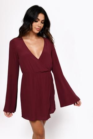 68e5b5df13 Sexy Red Wrap Dress - Plunging Dress - Wine Cami Dress -  31