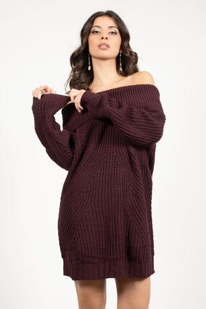 Wine Casual Dress - Cold Shoulder Dress - Wine Sweater Dress -  36 ... 1a463757a