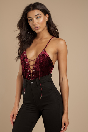 f6655a8594 Pretty Wine Bodysuit - Holiday Bodysuit - Red Velour Bodysuit -  21 ...