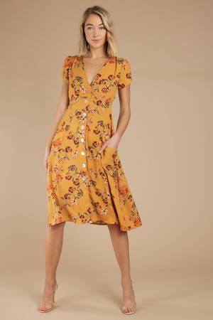 Yellow Dresses Mustard Sundress Long Dress Cocktail