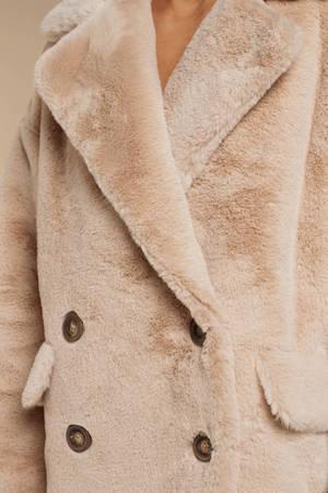 f4c6934bfc93 Beige Free People Coat - Button Up Coat - Beige Faux Fur Coat - S ...