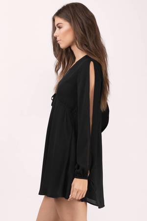 Cute Black Skater Dress - Plunging Dress - Skater Dress - € 17  45a144cc4