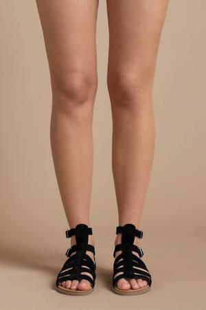 01c85b3e9af Cute Black Sandals - Buckled Gladiator Sandals - Black Strappy ...
