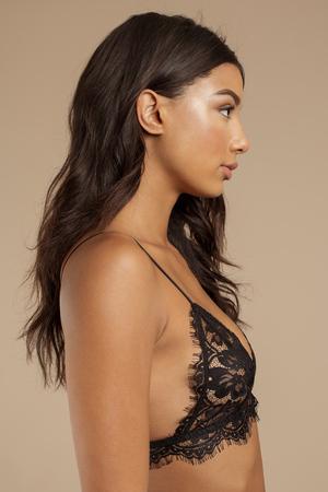 f51653c7393cd Black Bra - Scalloped Bra - Eyelash Bralette - Eyelash Lace Bralette ...