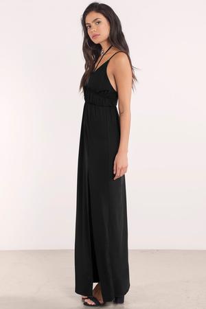 deed272169f Pretty Black Maxi Dress - Plunging Dress - Maxi Dress - € 23