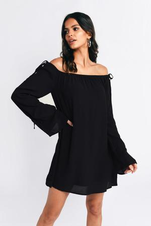Black Shift Dress - Flowy Dress - Black Off Shoulder Dress - AU  51 ... 5044d265f