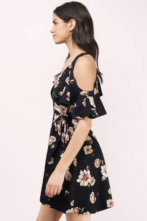 6e25876020c Black Multi Shift Dress - Black Dress - Cold Shoulder Dress - C$ 55 ...