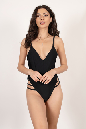 cec9f26fb342a Black Swimwear - Deep V Swimsuit - Black High Leg Swim - € 22