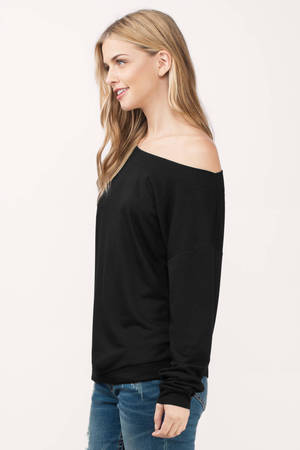 cceb5abd591d7d Cute Black Sweatshirt - Off Shoulder Sweatshirt - Black Hoodie - £48 ...