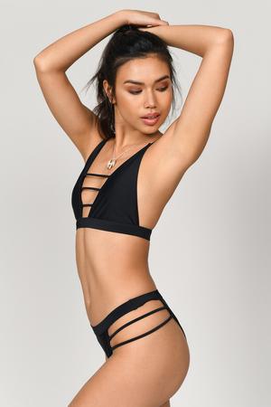 Cute Black Swim Bottom - Bikini Thong - Black High Leg Swimsuit - C ... c667750f7