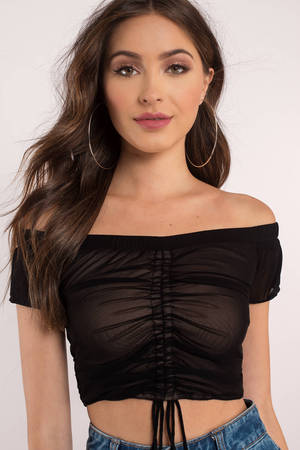 9b326fcd6980 Cute Black Top - Front Tie Top - Off Shoulder Crop Top - C$ 93 | Tobi CA