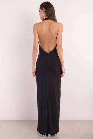 468af385f60 Black Maxi Dress - Backless Dress - Mock Neck Dress - Full Dress - S ...