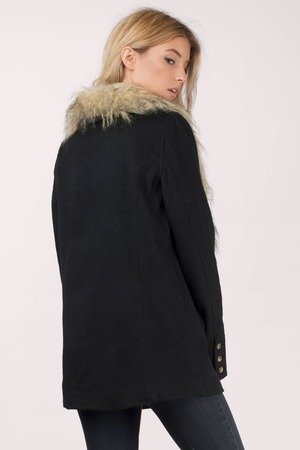 Trendy Black Coat - Black Coat - Faux Fur Coat - Black Coat - C ...