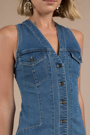 4161b250bb Blue Free People Dress - Denim Dress - Blue Sleeveless Denim Dress ...