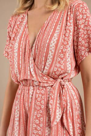 3dd7d022ef1 Pink Lost + Wander Romper - Floral Striped Romper - Pink Designer ...