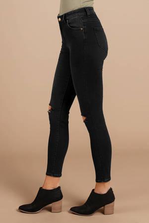 2064c90a4e6 Black Rolla's Pants - Knee Rip Jeans - Black Mom Jeans - Concert ...
