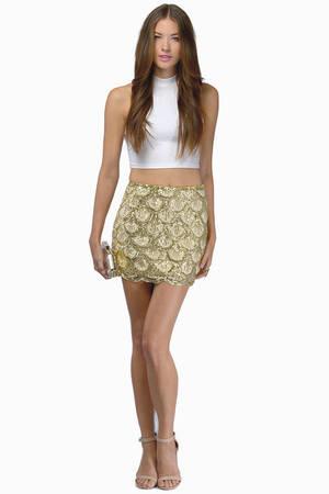 Cute Gold Skirt - Sequined Skirt - Sparkly Skirt - Gold Skirt - AU$ 25