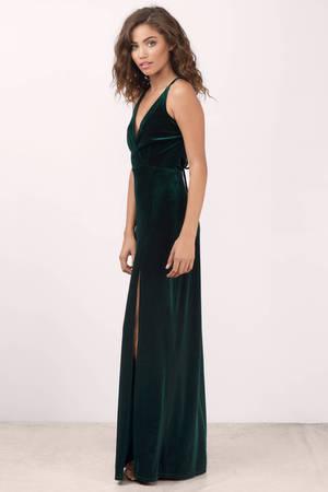 1cec2582ba Green Maxi Dress - Velvet Maxi Dress - Green Gown Dress - € 32 | Tobi NL