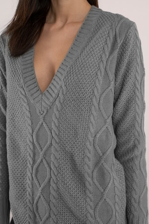 Grey Dress Sweater Dress Long Sweater Day Dress 17 Tobi Gb