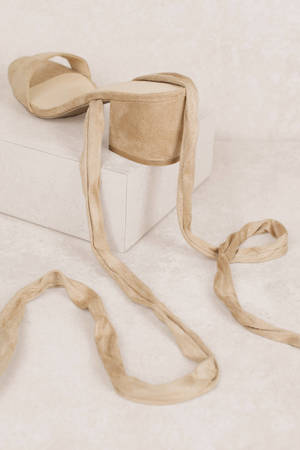 49be75c29a8f ... Larina Nude Faux Suede Ankle Wrap Heels ...