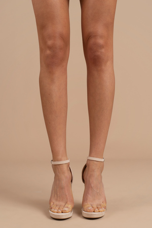 ff2d2bed7a1 Lovely Nude Heels - Winter Formal Heels - Nude Prom Heels - C  41 ...