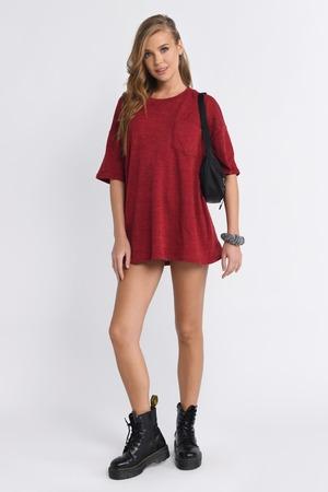 b293e77f57e Red Shift Dress - Short Sleeve Dress - Red Tee Shirt Dress - NZ  36 ...