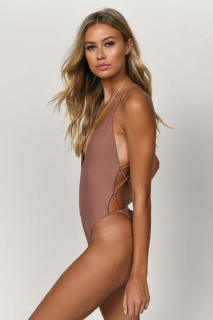 597fe531b89 Sexy Nude Swimsuit - Plunge One Piece - Nude Strappy Suit - kr 84 ...