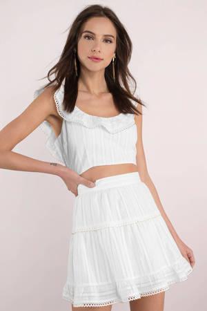 d4c8c6e609 White Skirt - Beaded Trim Skirt - White Skater Skirt - C$ 56 | Tobi CA