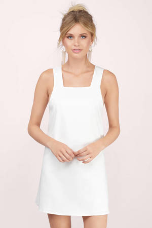 27d15474bf Cute White Shift Dress - Structured Dress - Shift Dress - NZ  17 ...