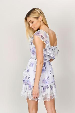 1f534aa40e White Floral Dress - One Shouldered Chiffon Dress - White Lace Hem ...