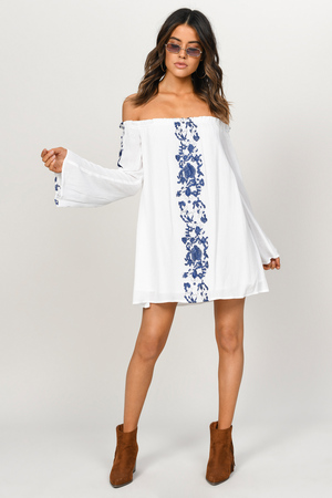 3661663cc49a21 White & Navy Dress - Off Shoulder Dress - White Embroidered Top - AU ...