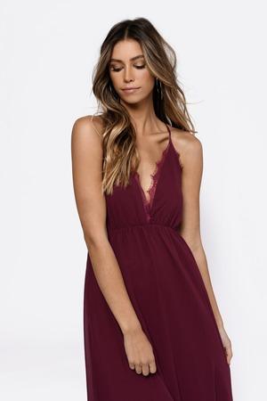 52d383f85b Sexy Wine Maxi Dress - Plunging Dress - Red Dress - Maxi Dress - £43 ...