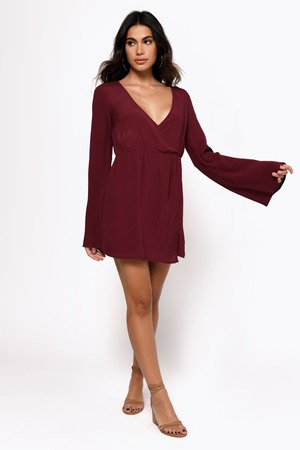 44452954e9b3 Wine Wrap Dress - Bell Sleeve Dress - Long Sleeve Date Dress - kr ...