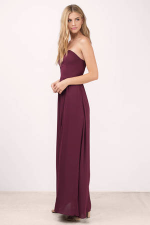 56ace164d25c Sweetheart Maxi Dress - Wine Maxi Dress - Purple Strapless Gown ...