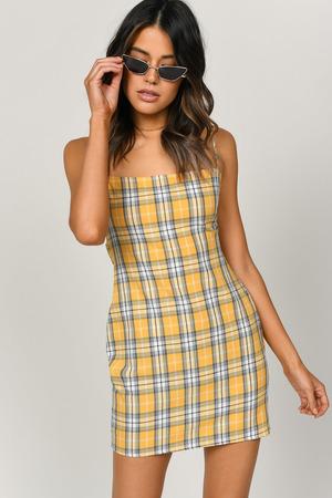 1f28c342b6b Yellow Bodycon Dress - Plaid Cami Dress - Yellow Checkered Dress ...