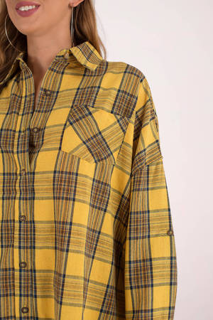 Yellow Casual Dress - Plaid Shirt Dress - Yellow Plaid Flannel Shirt ... e90f0314057