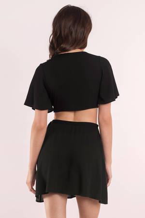 0bfbdfa0f129 Cute Black Crop Top - Front Tie Top - Black Top - Black Crop Top - C ...