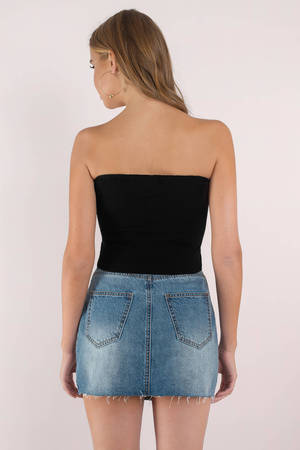 e0f1d75b51b27b Cute Black Top - Strapless Crop Top - Black Crop Top - € 13