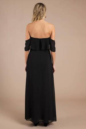 baef0966b7 Into You Black Ruffle Top Maxi Dress - £43