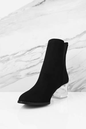 bf2519e00a1 Jeanette Lucite Suede Booties
