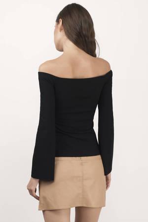 54489220a3619 Black Blouse - Black Blouse - Long Sleeve Blouse - Opts Blouse - £46 ...