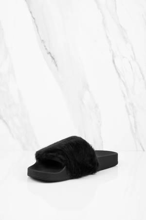 2c4f654e42f Black Sandals - Black Slides - Faux Fur Sandals - Steve Madden ...