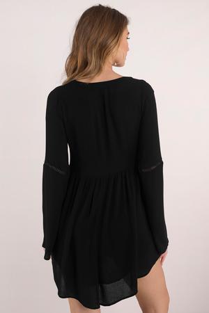 118e0f99a7 Black Shift Dress - Plunging Dress - Black Kaftan Dress - Day Dress ...