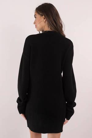 Cute Black Dress - Deep V - Black Oversized Sweater - S$ 120 | Tobi SG