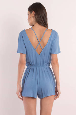 a580c4a9556 Cute Blue Romper - Criss Cross Romper - Blue Romper - S  95