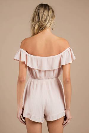 ad713ca2c106 Blush Pink Romper - Off Shoulder Romper - Blush Pink Ruffle Romper ...