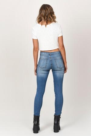 69024d9d999 Blue Jeans - High Waisted Concert Jeans - Cropped Blue Jeans - kr ...