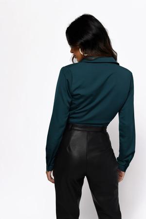 fdfdfec43e3aaf Cute Top - Long Sleeve Top - Front Tie Blouse - Black Blouse - £24 ...